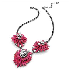 Neon pink and crystal flower necklace