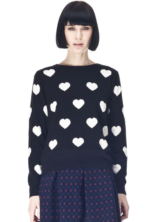 Black knit with white hearts by Kling
