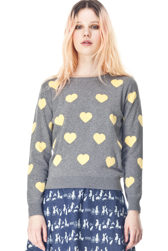 Grey knit with yellow hearts by Kling